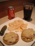 tuna melt, lunch, afternoon, coca cola, coke, salt and vinegar chips, dill pickle, corn